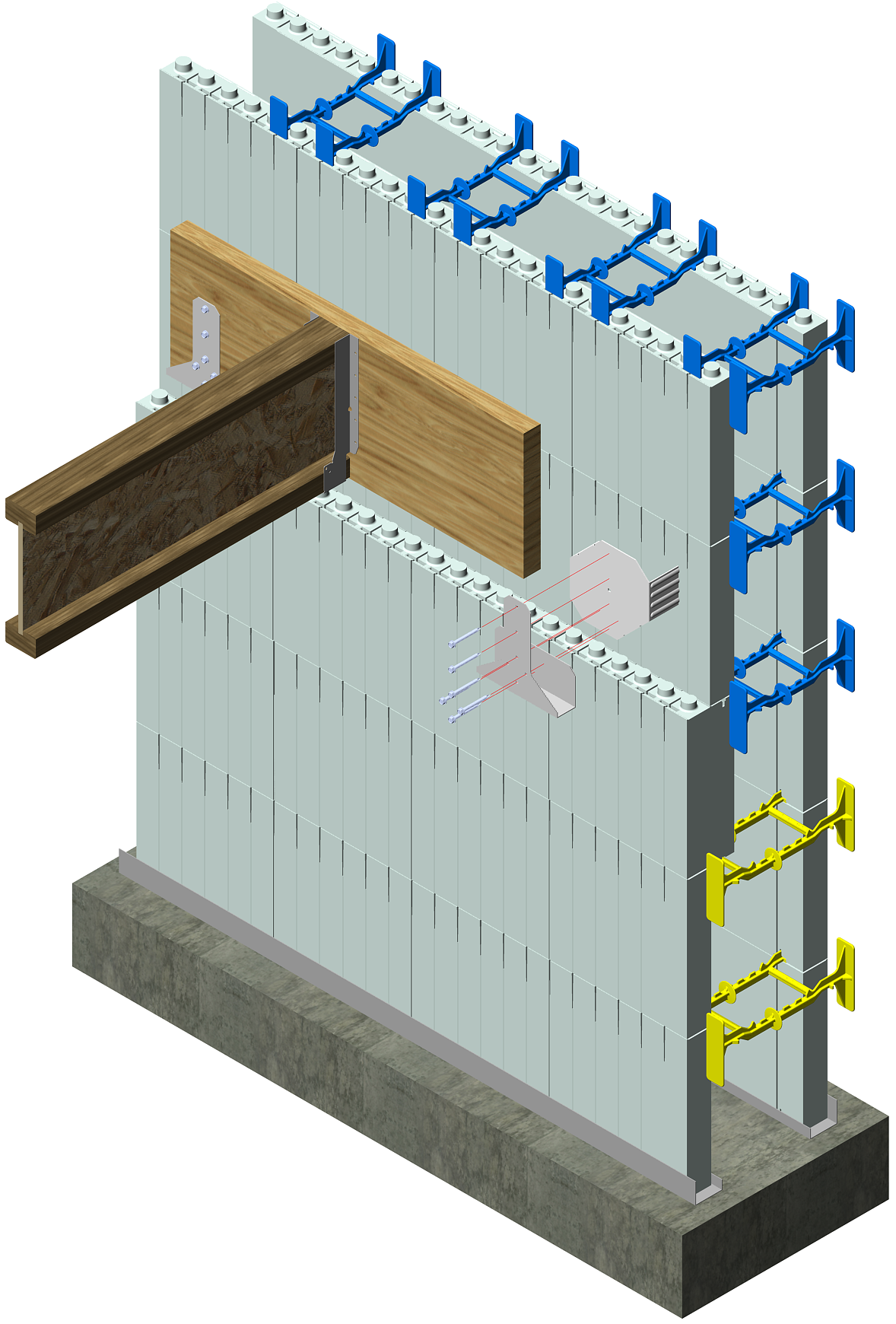 Insulated concrete forms icf 3d drawings for Icf foam block construction