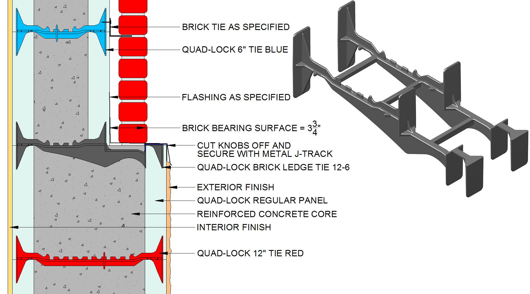 Quad lock icf ties for insulated concrete forms for Best icf block
