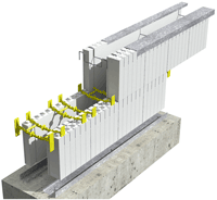 ICF Assembly - Metal Track and Wire Top Ties Installation