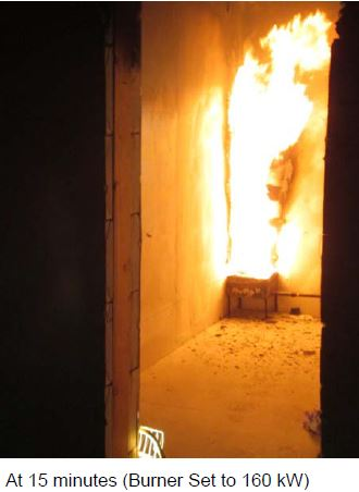 Quad-Lock Fire Test Images ICF Room During 15min Fire Test